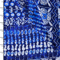 Blue and White Island Tribal Rayon Challis Print
