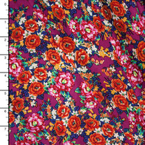 Vibrant Fuschia and Red Floral Rayon Challis Print