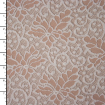 Floral Champagne Embroidered Stretch Lace