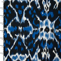 Black and Blue Ikat ITY Print