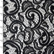 Black Scrollwork Floral Lace