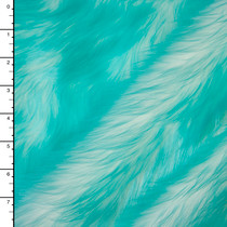 Bright Aqua on White Candy Shag Faux Fur