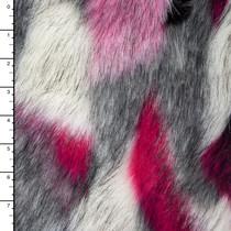 Grey, White, Hot Pink, and Black 'Matterhorn' Luxury Faux Fur