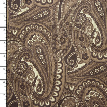 Brown and Tan Paisley Print Stretch Twill