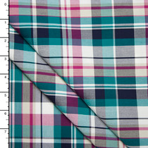 Teal and Fuschia Plaid Fine Cotton Shirting