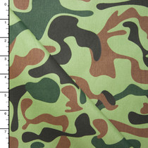 Zany Olive, Brown, and Black Camouflage Cotton Twill