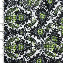 Chartreuse, Black, and White Paisley Border Print Rayon Challis