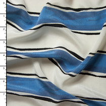 Blue and Ivory Paint Stripe Silk Crepe De Chine