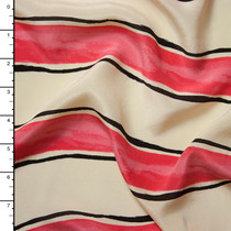Coral and Ivory Paint Stripe Silk Crepe De Chine