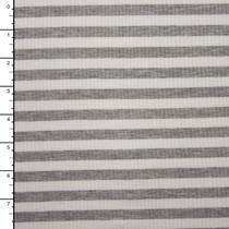 White and Heather Grey 4-Way Stretch Rib Knit
