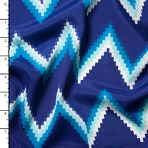 Blue Chevron Poly Crepe De Chine