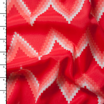 Bright Red Chevron Poly Crepe De Chine