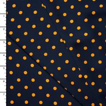 Orange Polka Dots on Navy Polyester Peachskin Print