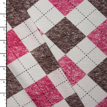 Brown and Hot Pink on Ivory Weathered Argyle Jersey Knit