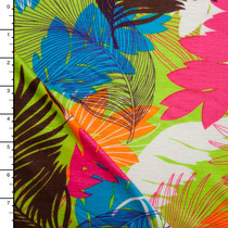 Bright Palms and Leaves Print Rayon Jersey Knit