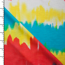 Red Orange, Yellow, Blue, and White Watercolor Stripe Rayon Jersey
