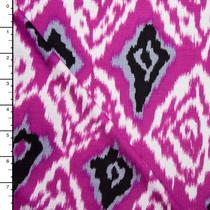 Fuschia and Grey Ikat Diamond Print Rayon Jersey
