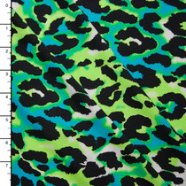 Lime, Turquoise and Black Leopard Print Nylon/Lycra