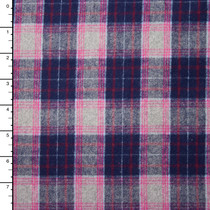 "Navy, Grey, and Pink 45"" Plaid Flannel"