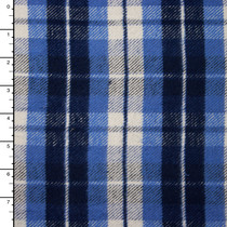 "Navy, Light Blue, and White Heavy Double-Nap 60"" Flannel"
