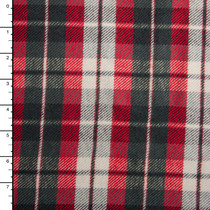 "Red, Grey, and White Heavy Double-Nap 60"" Flannel"