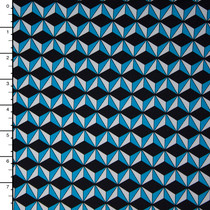 Turquoise, Black, and White Geometric Prints Nylon/Lycra