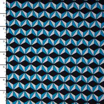 Turquoise, Black, and White Geometric Prints Nylon/Lycra