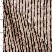 Black and Tan Striped Loose-Weave Sweater Knit