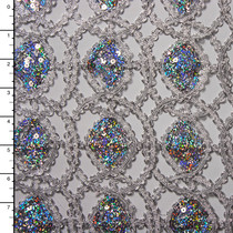 Metallic Silver Geometric Sequined Lace