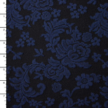 Navy and Black Floral Jaquard-Look Double Knit
