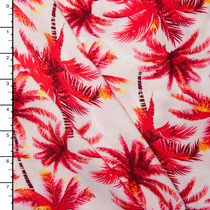 Red on Ivory Palm Tree Rayon Challis