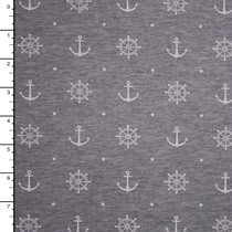 Heather Grey Anchors and Wheels Print Stretch Jersey Knit