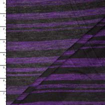 Purple and Black Brush Stripe Hacci Sweater Knit