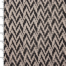 Ivory and Black Zig-zag Textured Double Knit