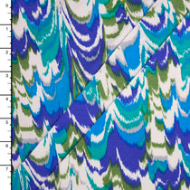 Blue, Green, and Offwhite Brushstroke Stretch Jersey Print