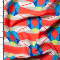 Bright Turquoise and Neon Coral Border Print Abstract Crepe De Chine Print