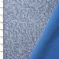 Mottled Light Blue Fleece Lined Wool Blend Sweater Knit