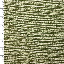 Moss Green on White Grunge Lined Double Brushed Poly Spandex Knit Print