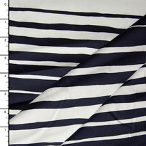 Navy and White Gradient Stripe Lightweight Stretch Sateen