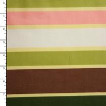 Green, Tan, and Brown Stripe Cotton Lawn Print