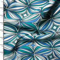 Blue, aqua, and Green Retro Medallion Rayon Challis Print