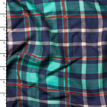 Aqua, Navy, Red, and Ivory Plaid Rayon Challis