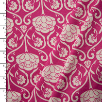 Hot Pink and White Floral Scrollwork Print Midweight Stretch Jersey Knit