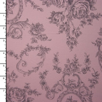 Grey on Pale Pink Floral Antique Print Midweight Stretch Jersey Knit