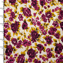 Purple and Mustard Flowers on Ivory Stretch Jersey Knit