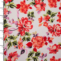 White and Pink Floral Double Brushed Poly Knit