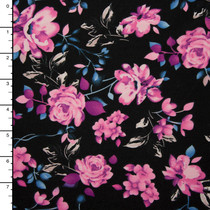 Black, Pink, and Purple Floral Double Brushed Poly Knit
