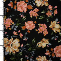 Black, Peach, and Ivory Floral Double Brushed Poly Knit