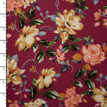 Burgundy, Peach, and Ivory Floral Double Brushed Poly Knit