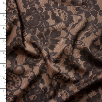 Black and Nude Lace Print Nylon/Lycra